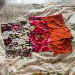 Accessories - Fashion Floral Scarves (2) pinks oranges